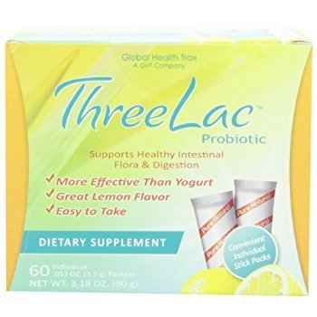(Threelac Probiotic Dietary Supplement, Natural Lemon Flavor, Includes 60 .053-Ounce Packets)