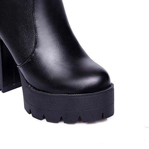 Allhqfashion Womens Stevige Hoge Hakken Ronde Gesloten Teen Pu Rits Laarzen Met Metalen Nagel Zwart