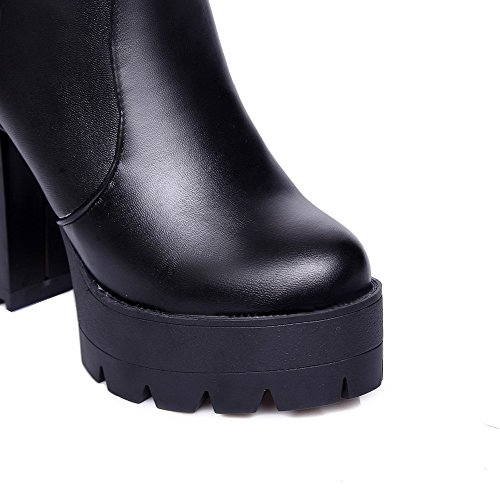 Allhqfashion Dames Hoge Hakken Stevige Ronde Gesloten Neus Zachte Materiële Rits Laarzen Zwart