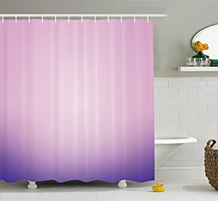 Ambesonne Lavender Shower Curtain Set Pink And Purple Ombre Print Modern Pastel Color Gradient Design