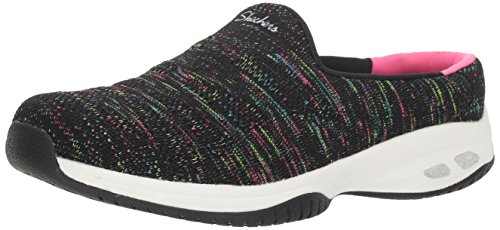 Skechers Women's Commute-KNITASTIC-Engineered Knit Open Back Mule, Black/Multi, 7.5 M US