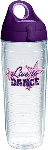 Tervis 1232522 Live to Dance Sequins Tumbler with Emblem and Purple Lid 24oz Water Bottle, Clear by Tervis (Image #2)