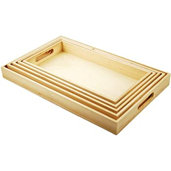 Multicraft Imports 5-Piece Paintable Wooden Trays with Handles, 6-5/8 by 13-Inch to 10-1/8 by 16-1/8-Inch