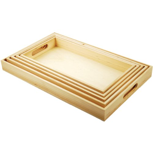 (Multicraft Imports WS410 5-Piece Paintable Wooden Trays with Handles, 6-5/8 by 13-Inch to 10-1/8 by 16-1/8-Inch)
