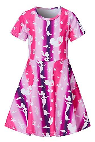 Girls Short Sleeve Dress 3D Print Cute Mermaid Seaweed Starfish Pattern Summer Dress Casual Swing Theme Birthday Party Sundress Toddler Kids Twirly Skirt