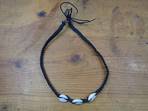 BEACH HEMP JEWELRY Cowrie Shell Choker Necklace Black Adjustable Handmade In USA