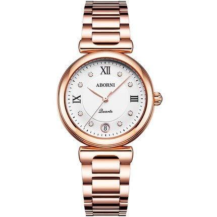 WLKVUOT 高級女性用腕時計ステンレススチールストラップウォッチレディースクォーツ時計女性用ヴィンテージ時計腕時計高級女性用腕時計すべての機会 B