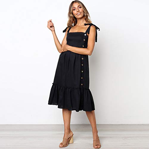 Donna Principessa Nero Elegante Elecenty Vestito Sexy abito Spalline Da Donna Senza Maniche 6bf7gy