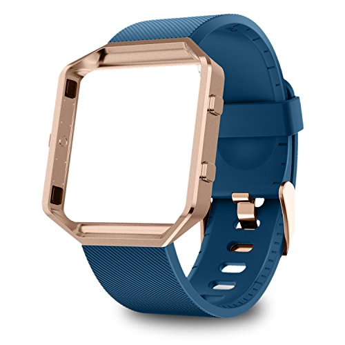 Greeninsync Compatible with Fit Bit Blaze Bands Large, Replacement for Fit Bit Blaze Accessories Band Adjustable Wristbands Bracelet Strap W/Metal Frame for Blaze Smart Watch, Navy+Rose Gold Frame