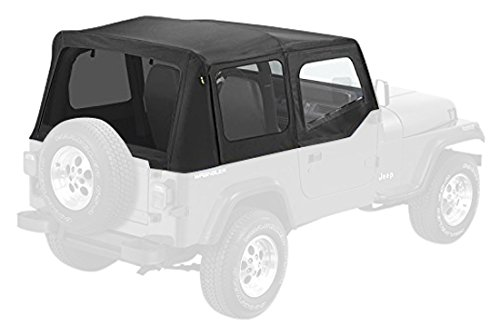 Pavement Ends by Bestop 51132-15 Black Denim Replay Replacement Soft Top Tinted Windows w/ Upper Door Skins for 1988-1995 Jeep Wrangler (Wrangler Door Upper)