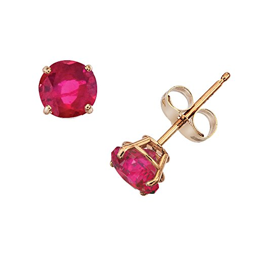 14k Gold Genuine .50ct TW Ruby July Birthstone Girls Earrings (July Girl Gold)