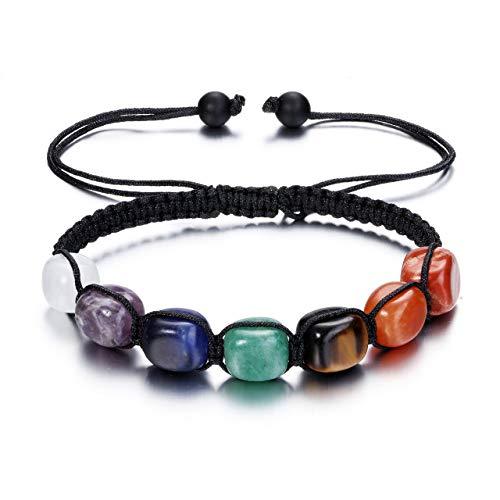 Jovivi 7 Chakra Reiki Healing Crystals Stretch Bracelet Natural Gemstone Energy Balancing Yoga Beads Bracelet for Women…