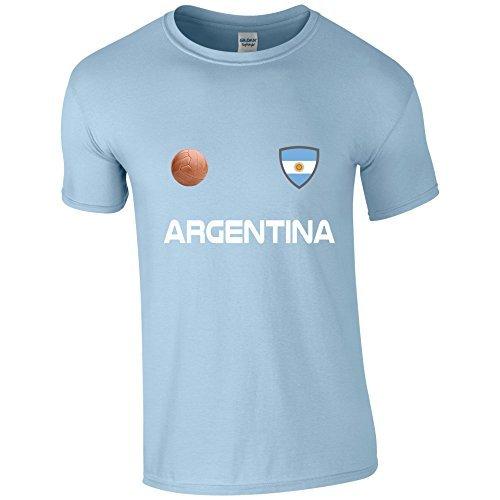 Argentina Copa Del Mundo 2018 Fútbol Retro Informales Camiseta Hombre No Oficial - Azul Claro,