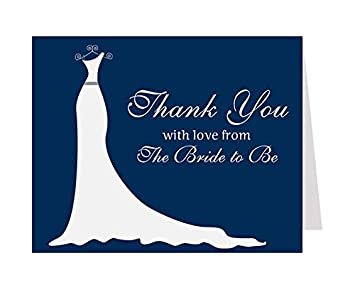 simple gown bridal shower thank you cards wedding dress navysimply
