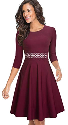 Merope J Sleeveless Lace Waist A-Line Vintage Cocktail Evening Summer Dresses for Women(XXL,Long Sleeves Red)