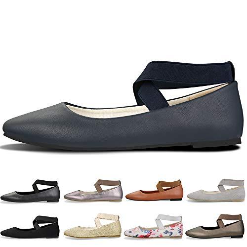 Women's Classic Round Toe Ballerina Walking Slip On Suede Flats - Comfortable Closed Toe Ballet (7-7.5 B(M) US/ CN39 / 9.5'', Navy Blue)