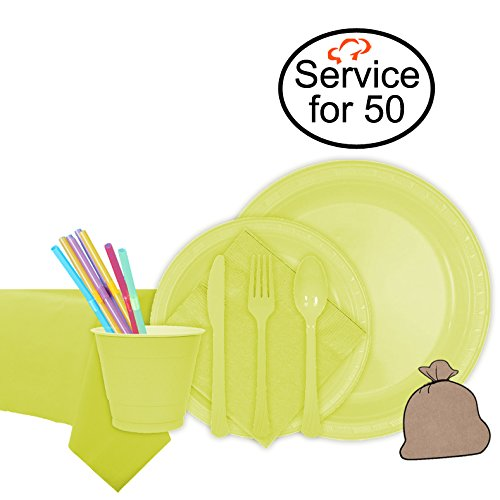 Tiger Chef Yellow Party Supplies Set for 50, Includes Plastic Party Plates, Plastic Cups, Napkins, Disposable Cutlery, Table cover, Straws, and Garbage Bag - Complete Party Pack