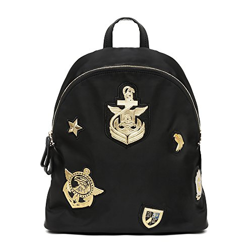 - Cool Fancy Black/Gold Nylon Naval Backpack for Woman. Causal Travel Lifestyle Lightweight Rucksack Daypack for Girls