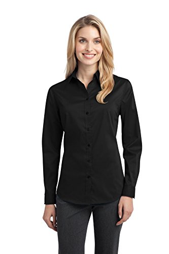 Port Authority Women's Stretch Poplin Shirt S Black (Spandex Stretch Shirt Poplin)