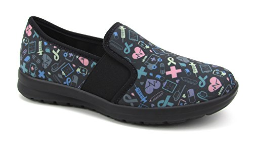 Comfortable Nursing Shoes - Sunny Women's Cute Memory Foam Elastic Gore Nursing Shoes - Printed - Florence (8, Black Colorful Hosp)