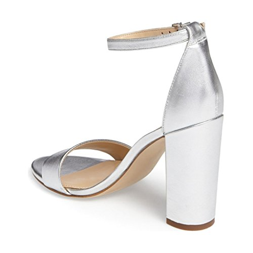 outlet amazing price 2014 newest sale online FSJ Women Classic Chunky High Heel Sandals Open Toe Ankle Strap Single Band Dress Shoes Size 4-15 US Silver Cheapest cheap price enjoy for sale top quality cheap price 1M0sj68JFT