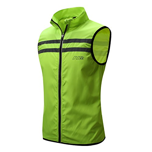Bpbtti Men's Hi-Viz Safety Running Cycling Vest - Windproof and Reflective (Large, Hi-Viz Yellow)