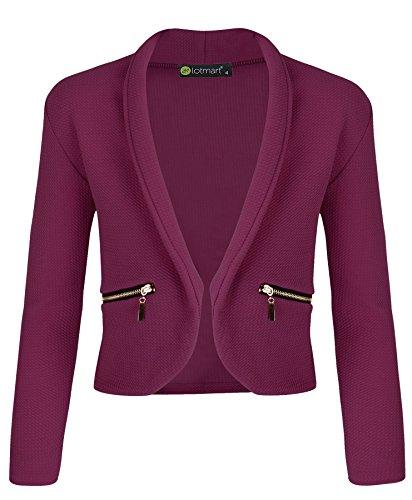 Burgundy 5 Zip - LotMart Girls Jacket with Zip Pockets in Burgundy 5-6 Years