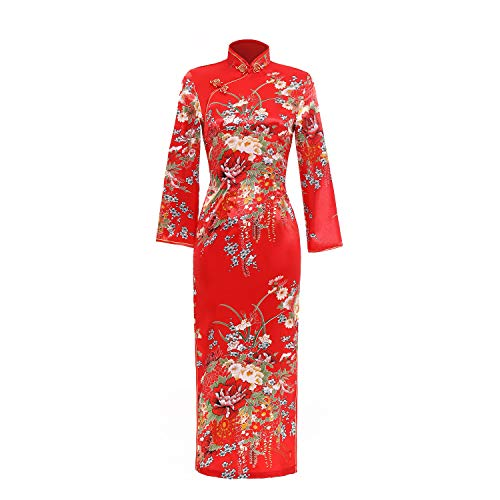 Shanghai Story Floral Dress Long Cheongsam Long Sleeve Qipao S Red