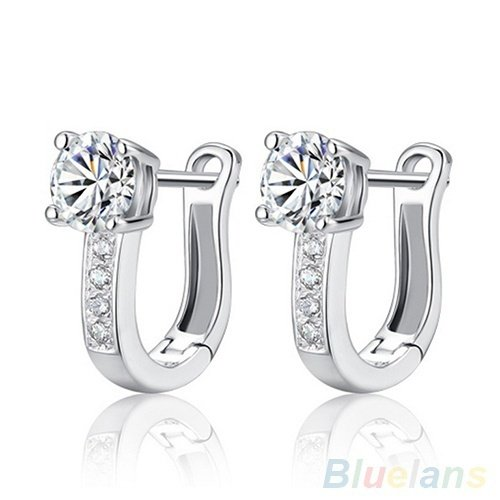 (maket Women's 925 Sterling Silver Rhinestone Studs Harp White Leverback Earrings (Size: One Size, Color Silver))