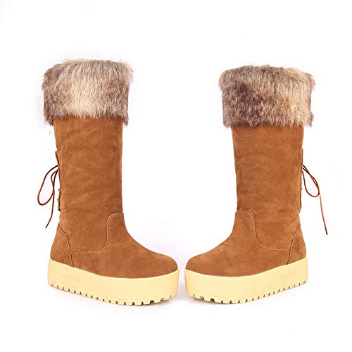 Bandage AmoonyFashion with Boots Round Solid M Heighten Kitten Heels Yellow B Inside US 5 5 Womens and Toe Closed rrx7HB
