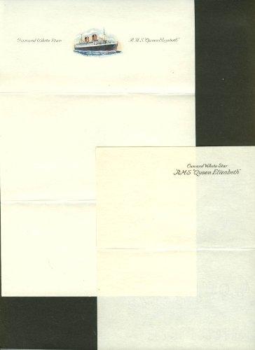 Cunard R M S Queen Elizabeth stationery letterhead & note paper 1940s
