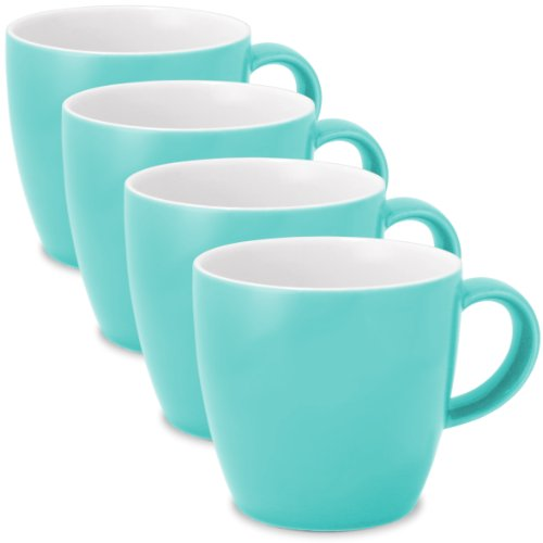 (FORLIFE Uni Tea/Coffee Cup with Handle (Set of 4), 11 oz, Turquoise)