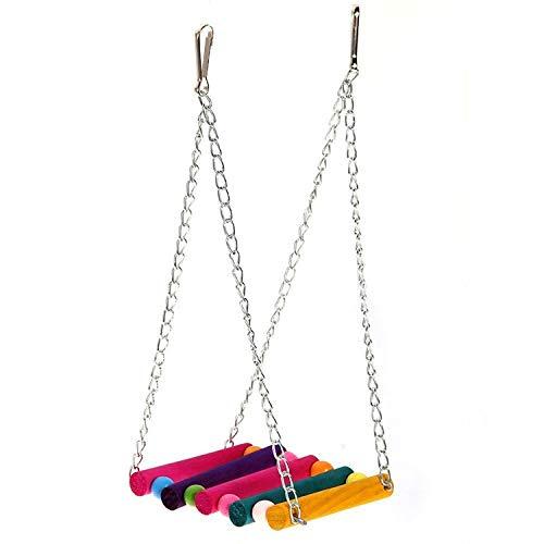 XOBULLO Parrot Supplies Doll Color Hammock Hanging Bridge Swing Hanging Toy Parakeet Budgie Cage Hammock Birds,A ()