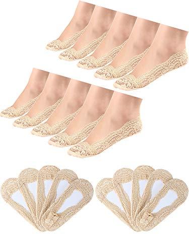 Hestya 10 Paar No Show Spitze Boot Socken Rutschfeste Socken Unsichtbare Socken für Damen Gefälligkeiten