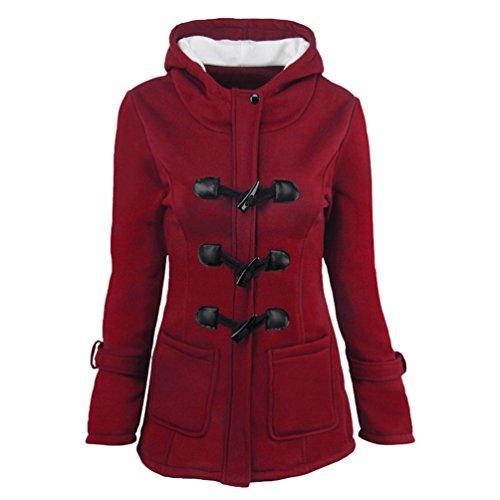 Niseng Giacca Invernale Hoodie Scuro Lana Con Rosso Lungo Felpa Parka Donna Cappuccio Cappotto Giacche rnAXHrq