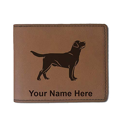 Faux Leather Wallet, Labrador Retriever Dog, Personalized Engraving Included (Dark Brown)