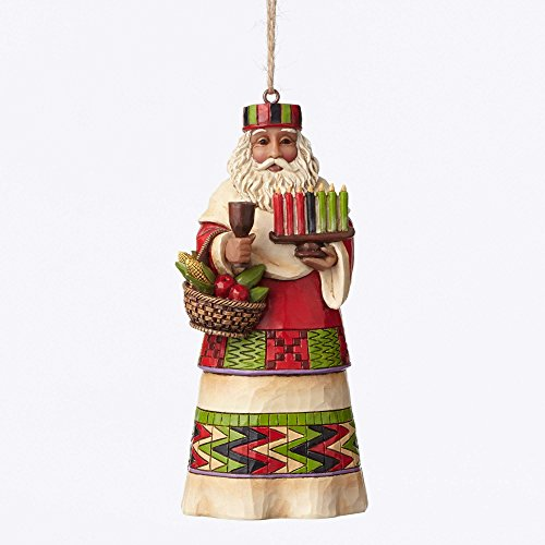 African Christmas Ornaments - Jim Shore Heartwood Creek African Santa Stone Resin Hanging Ornament, 4.75""