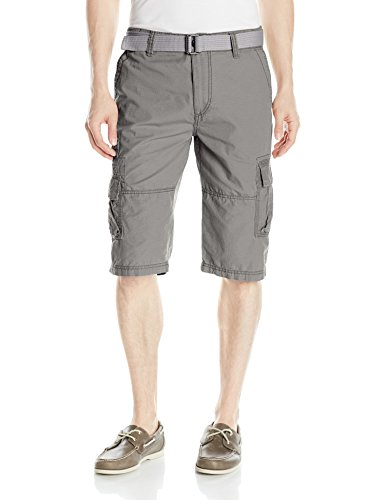 UNIONBAY Men's Ripstop Belted Messenger Length Cargo Short, Grey Goose, 32 (Belted Shorts Unionbay)