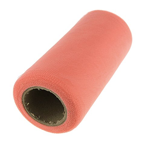 Homeford Firefly Imports Premium American Tulle Roll, Made in USA, 6-Inch, 25 Yards, Coral -