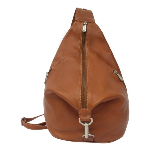 Piel Leather Three-Zip Hobo Sling, Saddle, One Size