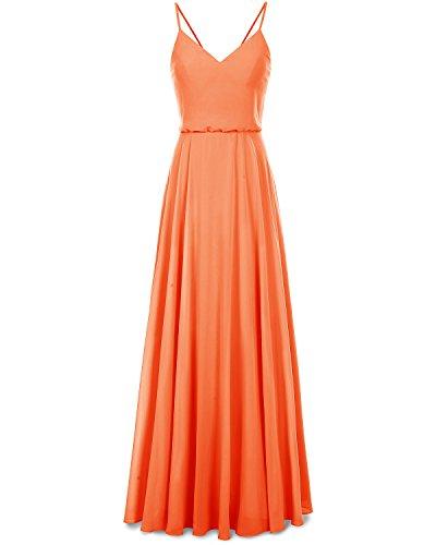 Arancione Promenade Da collo Da Vestito D'onore Vestito V Chiffon Damigella Spalline Bridesmay Del Lungo XwCAOvq
