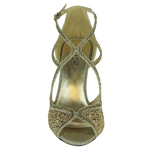 Mujer Señoras Diamante Tacón alto Peep Toe Correa cruzada Nupcial Noche Boda Fiesta Paseo Sandalias Zapatos Tamaño Estaño