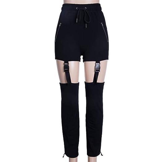 Caige Pantalones de Mujer Bolso Calado Hebilla Negro Pantalones ...