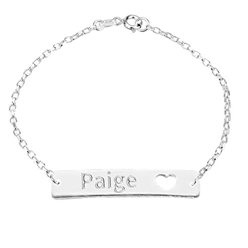 HACOOL Personalized 925 Sterling Silver Bar Name Bracelet with Heart Custom Made with Any Names (Silver)