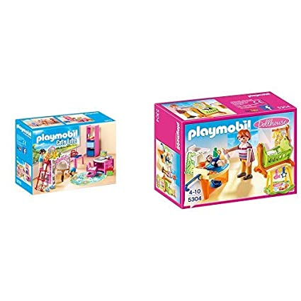 Playmobil 9270 - Fröhliches Kinderzimmer & 5304 - Babyzimmer mit Wiege