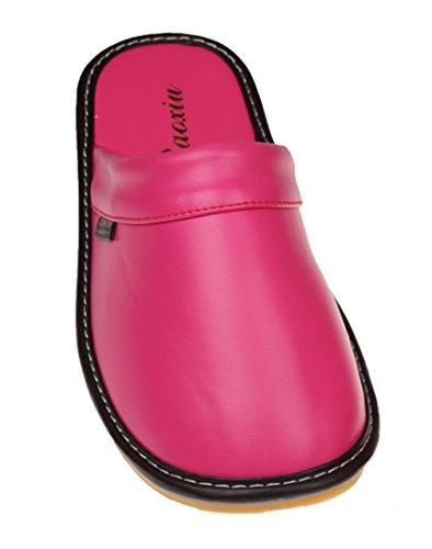 Zapatillas De Casa De Cuero Macizas Y Cómodas De Cattior Zapatillas De Casa De Color Rosa Y Rojo