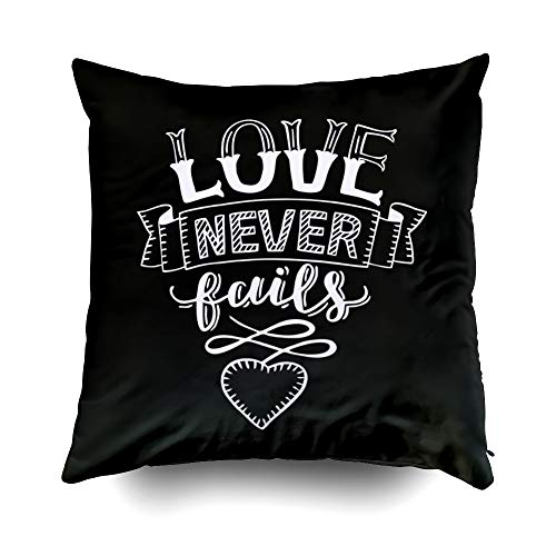 GROOTEY Decorative Cotton Square Pillow Case Covers with Zippered Closing for Home Sofa Decor Size 20X20 Inch Costom Pillowcse Throw Cover Cushion Halloween Love Never Fails Heart Christian Poster ()