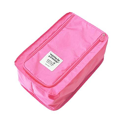 Buruis Portable Travel Shoe Bag, Lightweright Luggage Shoe Bag Organizer Pouch with Mesh Pocket - (Pink)