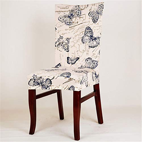 JONARO 2PCS Spandex Elastic Butterfly Printing Chair Protector Slipcover Kitchen Dining Chair Cover Removable Dustproof Decorative Seat Case ()