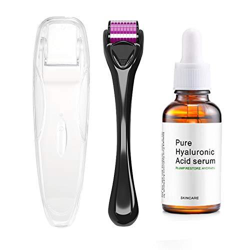ENDIM Titanium Microneedle Derma Roller 540 Micro Needles Skin Care Needle 0.25mm+hyaluronic acid serum-EOE